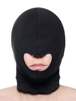 Master Series Blow Hole Open Mouth Spandex Hood: Kopfmaske, schwarz