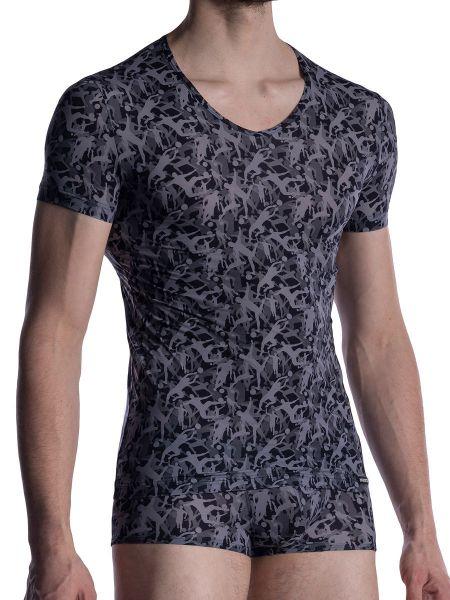 MANSTORE M2005: V-Neck-Shirt, grau/schwarz