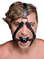 Strict Head Harness with Ball Gag: Kopfgeschirr mit Knebel, schwarz