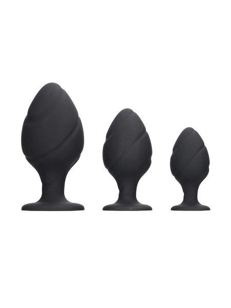 Ouch! Swirled Butt Plug Set: Analplug-Set, schwarz
