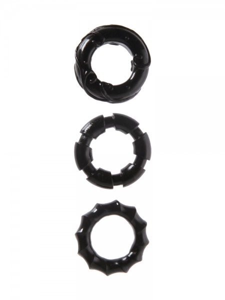 Malesation Stretchy Cock Rings: Penisringe-Set, schwarz