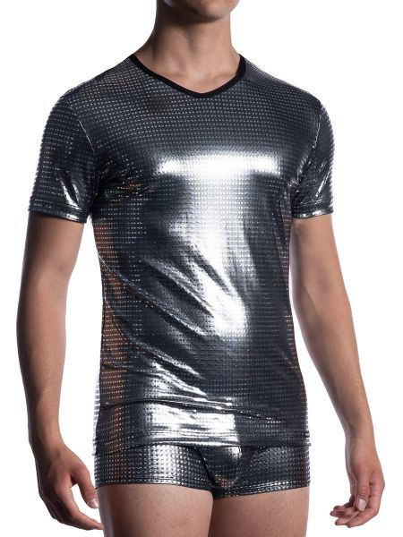 MANSTORE M2058: V-Neck-Shirt regular, platin
