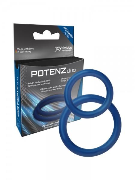 POTENZduo M: Penisringe-Set, blau