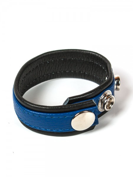 Black Label 3 Snap Leather Cock Ring: Penis- und Hodenriemen, schwarz/blau