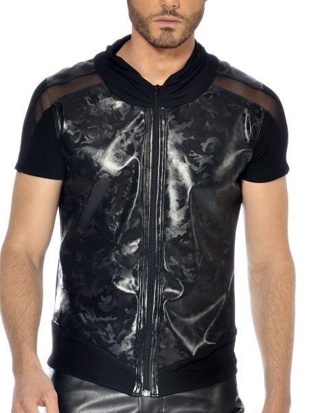 Patrice Catanzaro Bronn: Kunstleder-Zipshirt, schwarz