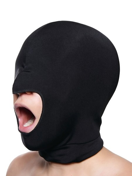 Master Series Blow Hole Open Mouth Spandex Hood: Kopfmaske, schwarz