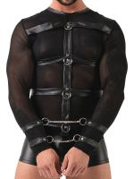 Netz-Longsleeve mit Harness, schwarz
