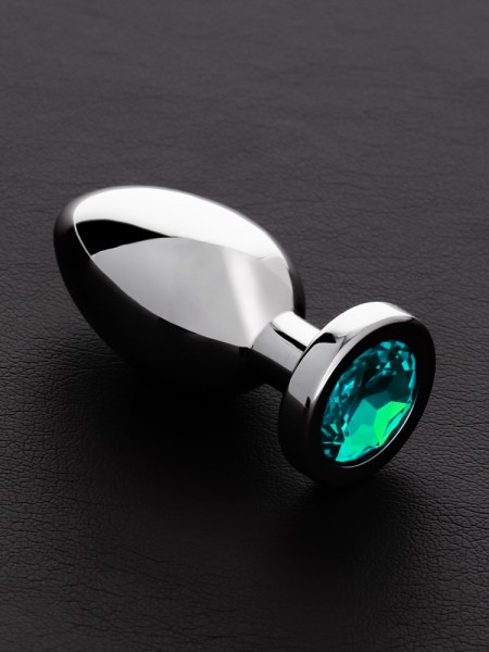 Triune Jeweled Butt Plug Aqua: Edelstahl-Analplug mit Kristall, türkis