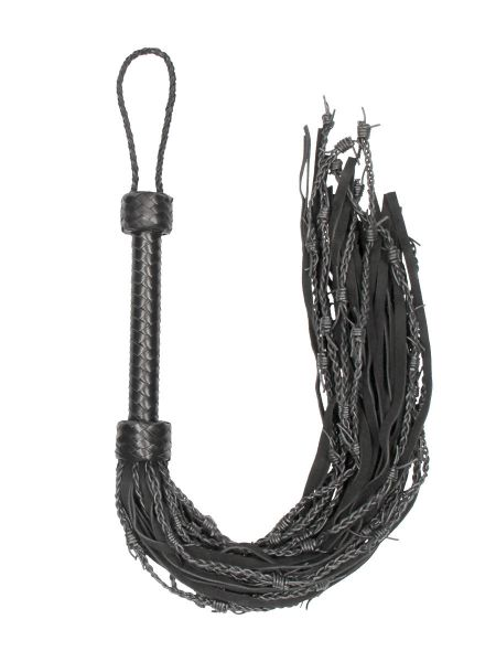 Ouch! Pain Leather Suede Barbed Wired Flogger: Peitsche, schwarz