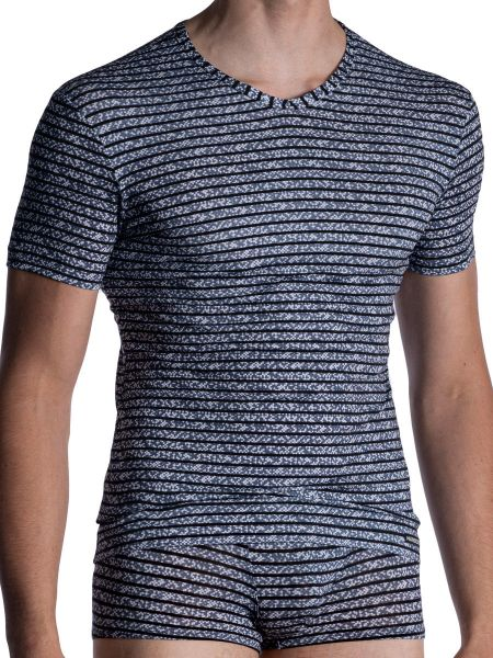 MANSTORE M967: V-Neck-Shirt, lines