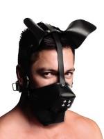 Master Series Pup Puppy Play Hood: Kopfmaske mit Knebel, schwarz