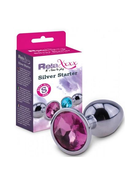 RelaXxxx Silver Starter: Analplug Size S, silber/pink