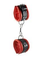 Hidden Desire: Leder-Handfesseln, rot/schwarz (6,5cm)