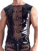 Lack-Shirt, schwarz