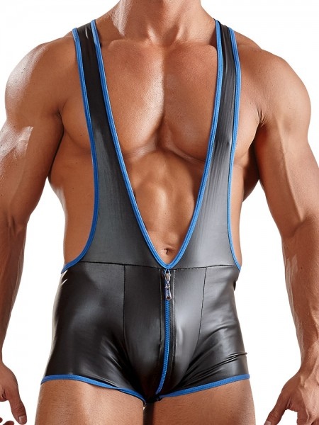 Wetlook-Jockbody, schwarz/blau