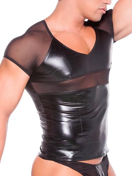 Zeus: Wetlook-Netz-T-Shirt, schwarz