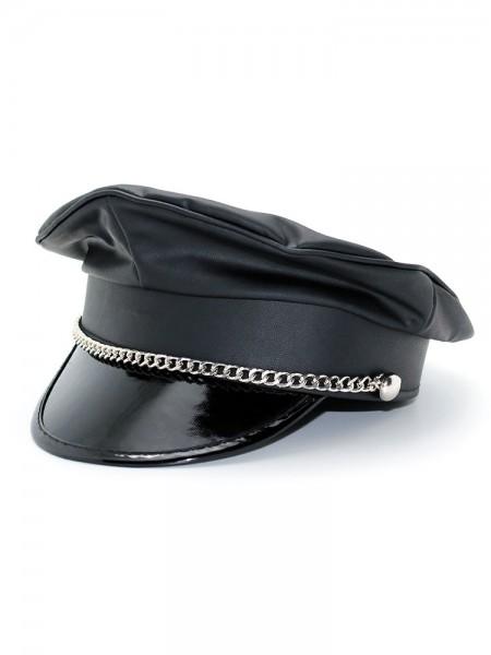 Kunstleder-Schirmmütze mit Kette, schwarz