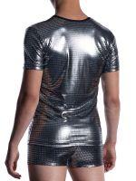 MANSTORE M2058: V-Neck-Shirt regular, platin