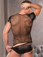Allure: Wetlook-Netz-Shirt, schwarz