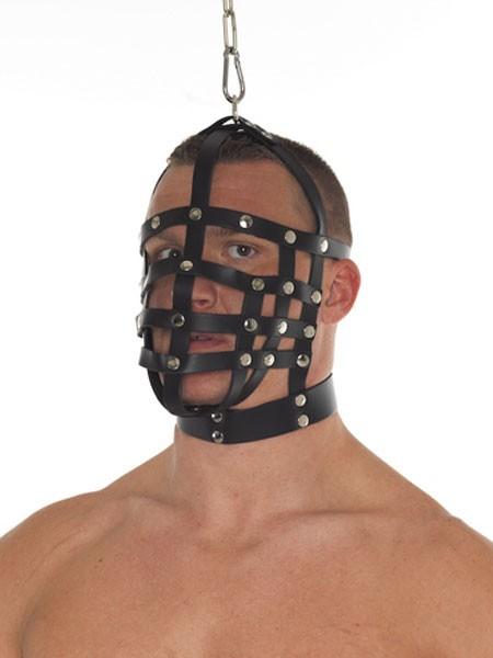 Leder-Maulkorbmaske mit Ring, schwarz
