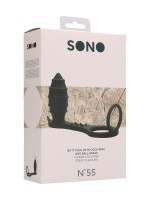 Sono No. 55: Vibro-Analplug mit Penis-/Hodenring, schwarz