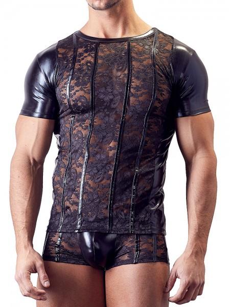 Wetlook-Spitzen-Shirt, schwarz