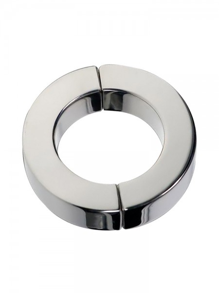 Black Label Stainless Steel Magnetic Hinged Cock Ring Polished: Edelstahl-Magnet-Penisring
