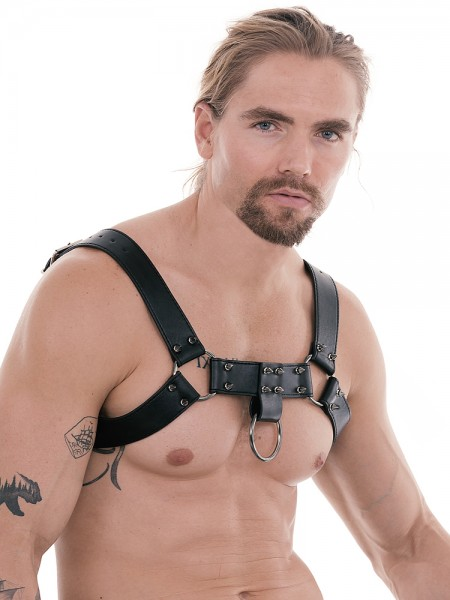 Ouch! Skulls and Bones Spiked Male Harness: Harness, schwarz