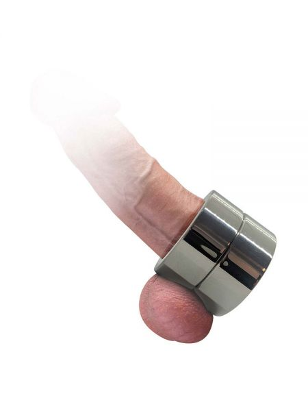 Black Label Cock Ring and Ball Stretcher: Edelstahl-Penis-/Hodenring