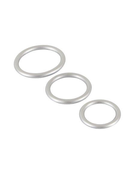 Metallic Silicone Cockring-Set: Penisringset, silber