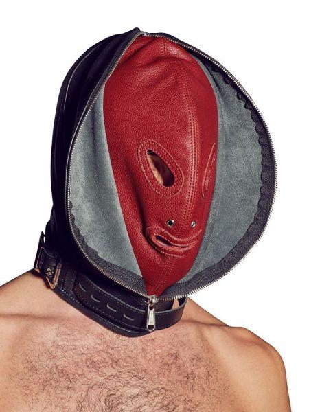 Leder-Doppelmaske, schwarz/rot