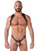 Spartan Harness: Leder-Harnessbody, schwarz