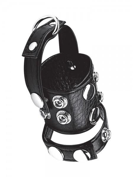 Blue Line 1,5'' Cock Ring/Ball Stretcher: Leder-Penisriemen mit Hodenstretcher/-teiler, schwarz