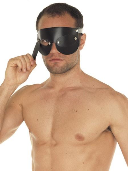 Leder-Augenmaske mit Klappen, schwarz