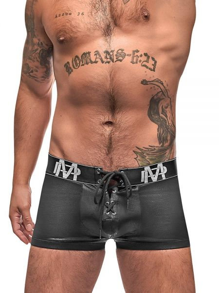 Male Power Black Ice: Lace Up Short, schwarz