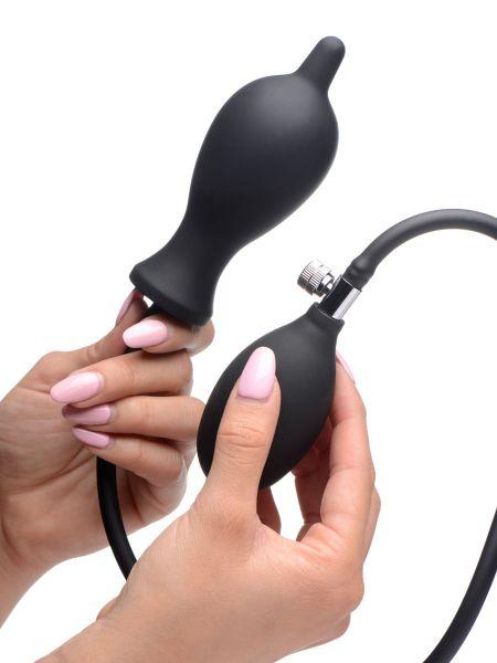 Dark Inflator Silicone Inflatable Plug: Pump-Analplug, schwarz