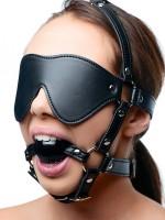 Strict Eye Mask Harness with Ball Gag: Kopfgeschirr mit Knebel, schwarz