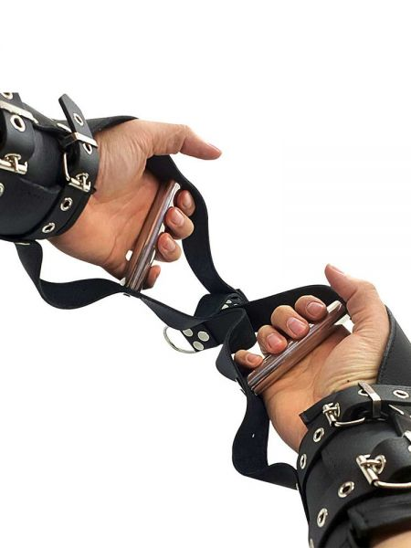 Black Label Deluxe Suspension Handcuffs: Leder-Hängefesseln, schwarz/silber