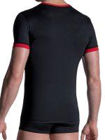 MANSTORE M2103: V-Neck-Shirt, schwarz/rot