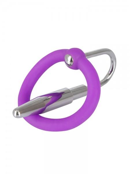Penisplug: Eichelring mit Dilator, lila/silber