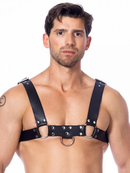 Leder-Harness mit Ringen, schwarz/silber