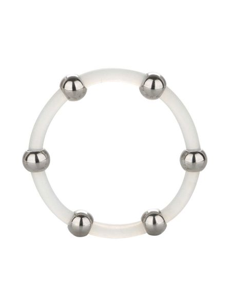 Steel Beaded Silicone Ring X-Large: Penisring, transparent