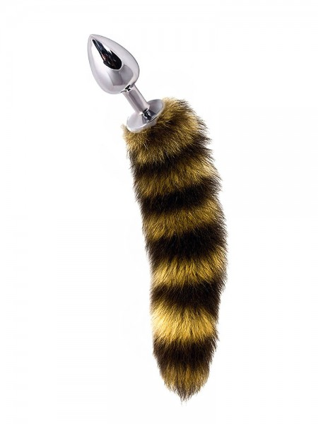 Dolce Piccante Jewellery Small Tail: Edelstahl-Analplug mit Fellschwanz, silber/braun
