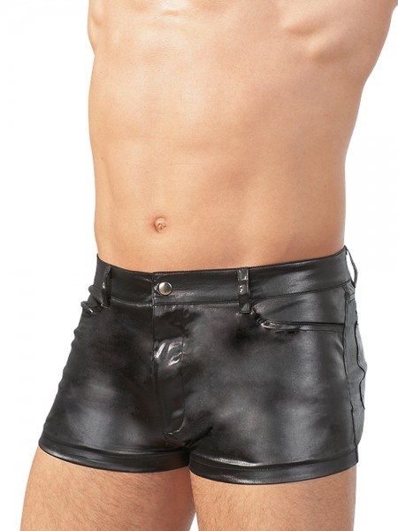 Wetlook-Shorts, schwarz