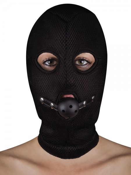 Ouch! Extreme Mesh Balaclava with Open Ball Gag: Kopfmaske, schwarz