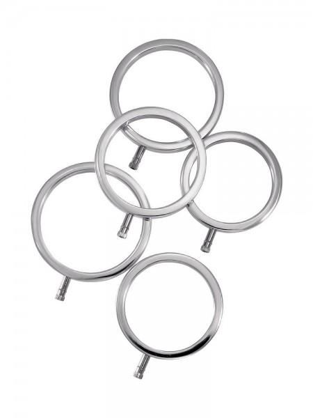 ElectraStim ElectraRings: Elektro-Penisringe 5er Set, silber