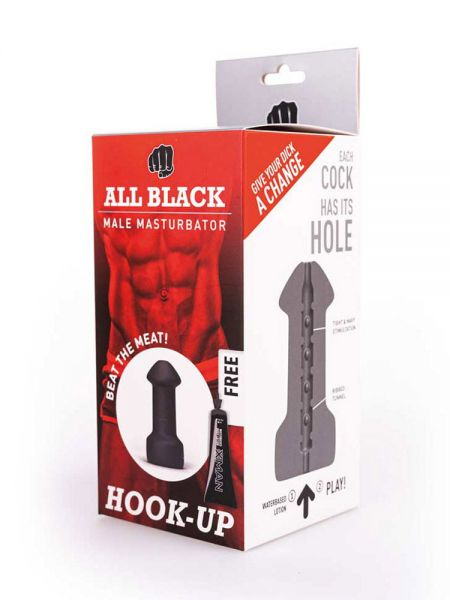 All Black Real Skin Touch Hook-Up: Masturbator, schwarz