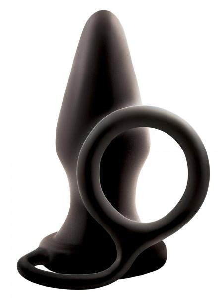 Renegade Pop & Lock Rocky: Analplug mit Penis-/Hodenring, schwarz