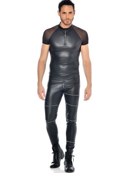 Patrice Catanzaro Khal: Wetlook-Netz-Shirt, schwarz