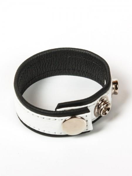 Black Label 3 Snap Leather Cock Ring: Penis- und Hodenriemen, schwarz/weiß